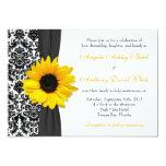 Sunflower Yellow Black White Damask Wedding