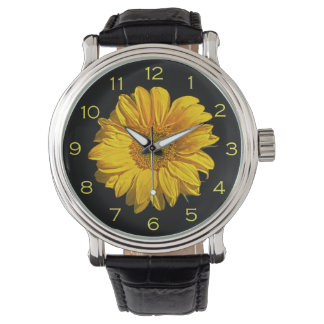 Sunflower Yellow Numbers Mens Watch