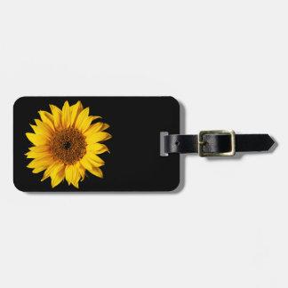 Sunflower Yellow on Black - Customized Sun Flowers Luggage Tag