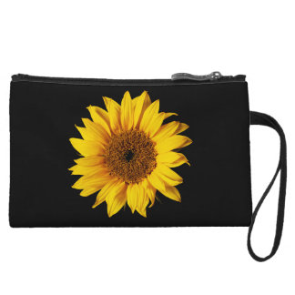 Sunflower Yellow on Black - Customized Sun Flowers Wristlet