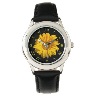 Sunflower Yellow Roman Numbers Kids Watch