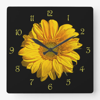 Sunflower Yellow Script Numbers Wall Clock