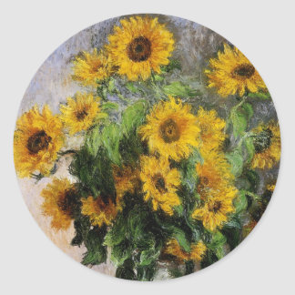 Sunflowers, 1881 by Monet. Classic Round Sticker