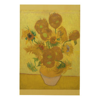 Sunflowers 1889 Vincent Van Gogh Wood Wall Art