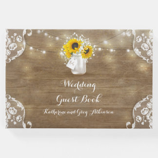 Sunflowers and Baby's Breath Rustic Wood Wedding Guest Book