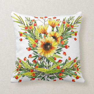 Sunflowers and Berries Floral Watercolor Design Throw Pillow
