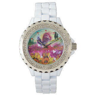 SUNFLOWERS AND BLACK ROOSTER WATCH