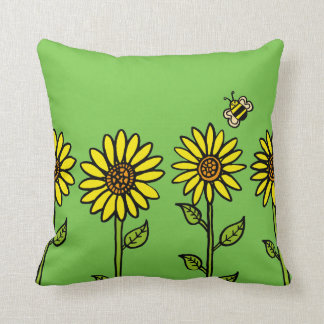 Sunflowers and Bumble Bee Throw Pillow