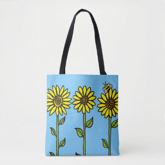 Sunflowers and Bumble Bee Tote Bag