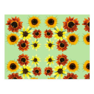Sunflowers and Bumblebees on Green Postcards
