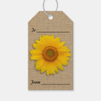 Sunflowers and Burlap Rustic Gift Tags