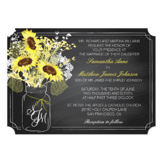 Sunflowers and Chalkboard Wedding Invitation Card