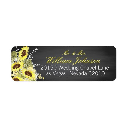 Sunflowers and Chalkboard Wedding Label