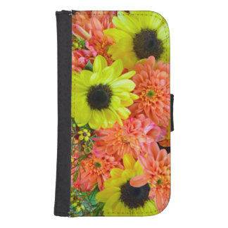 Sunflowers and dahlias iphone wallet case phone wallets