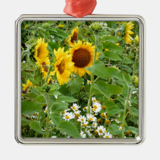 Sunflowers and Daisies Metal Ornament