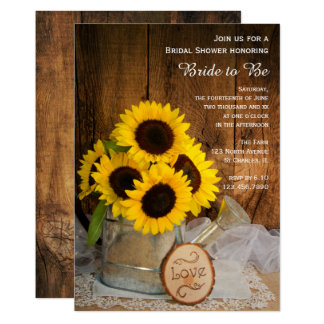 "Sunflowers and Garden Watering Can Bridal Shower 5"" X 7"" Invitation Card"