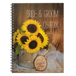 Sunflowers and Garden Watering Can Wedding Notebooks