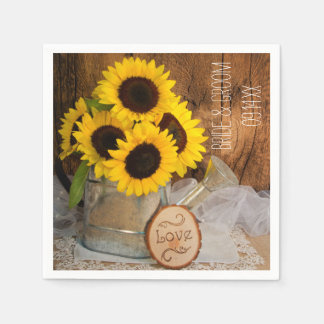 Sunflowers and Garden Watering Can Wedding Paper Napkins