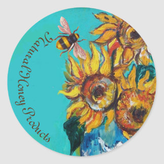 SUNFLOWERS AND HONEY BEE FLORAL BEEKEEPING CLASSIC ROUND STICKER