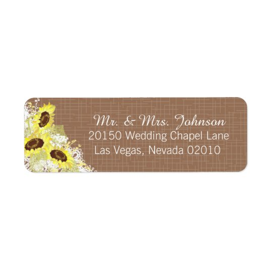 Sunflowers and Lace Rustic Wedding Label Return Address Label
