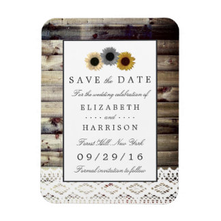 Sunflowers and Lace Rustic Wood Save The Date Rectangular Photo Magnet