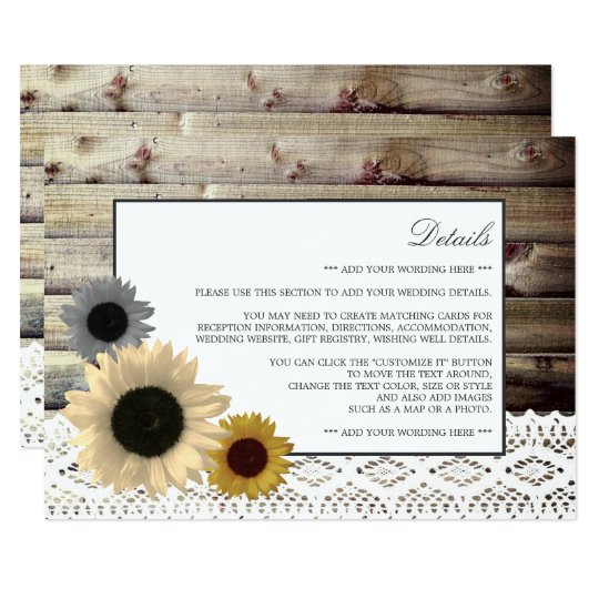 Sunflowers and Lace Rustic Wood Wedding Detail Card
