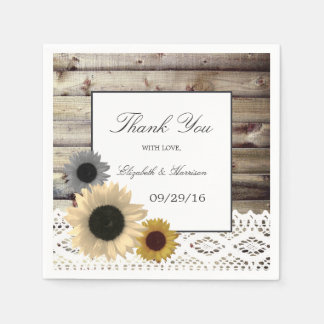 Sunflowers and Lace Rustic Wood Wedding Disposable Napkin