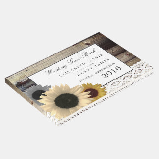 Sunflowers and Lace Rustic Wood Wedding Guest Book