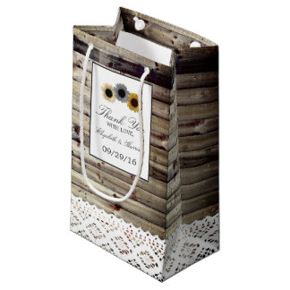 Sunflowers and Lace Rustic Wood Wedding Small Gift Bag