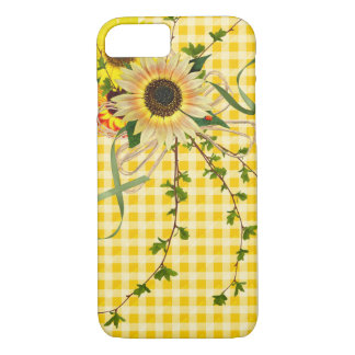 sunflowers and lady bug on ginham Case-Mate iPhone case