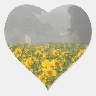 Sunflowers and Mist Heart Sticker