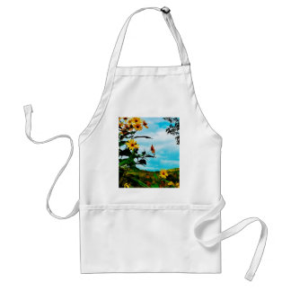 Sunflowers and mountains in Fletcher, Vermont Standard Apron