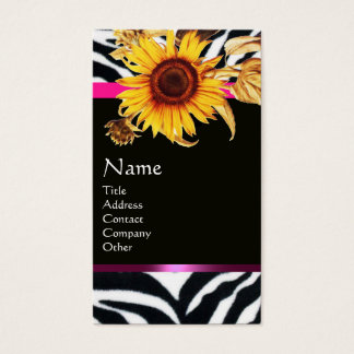 SUNFLOWERS AND PINK BLACK WHITE ZEBRA FUR MONOGRAM BUSINESS CARD