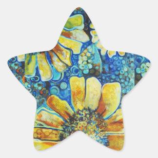 Sunflowers and Polk a Dots Star Sticker