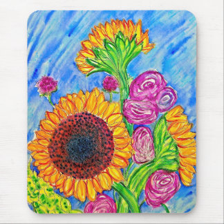 Sunflowers and Roses Mouse Pad