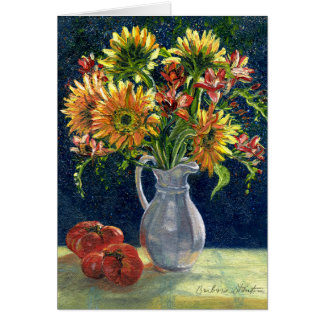 """""""Sunflowers and Tomatoes"""" Blank Note Card"""