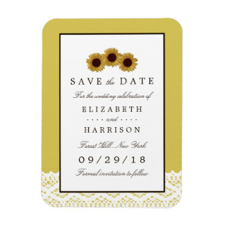 Sunflowers and Vintage Lace Wedding Save The Date Rectangular Photo Magnet
