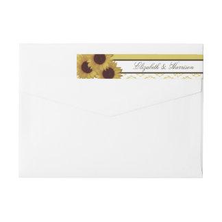 Sunflowers and Vintage Lace Wedding Wraparound Return Address Label