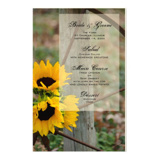 Sunflowers and Wagon Wheel Wedding Menu Stationery Paper
