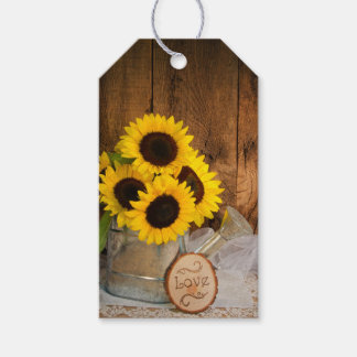 Sunflowers and Watering Can Wedding Favor Tags