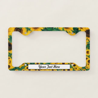 Sunflowers and Your Text License Plate Frame