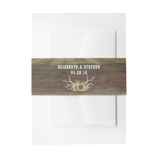 Sunflowers Antlers Rustic Country Wood Wedding Invitation Belly Band