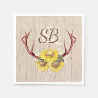 Sunflowers Antlers Rustic Country Wooden Wedding Paper Napkins