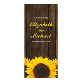 Sunflowers Barn Wood Wedding Program
