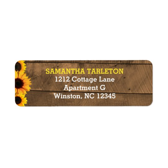 Sunflowers & Barnwood Gold Address Labels