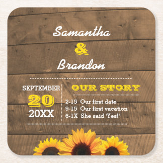Sunflowers & Barnwood Gold Personalized Wedding Square Paper Coaster