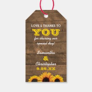 Sunflowers & Barnwood Gold Wedding Thank You Tags