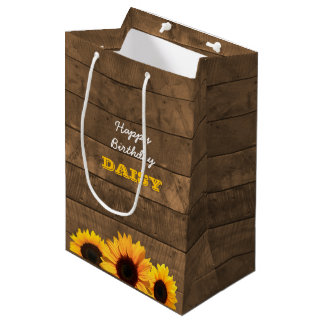 Sunflowers & Barnwood Personalized Gift Bag