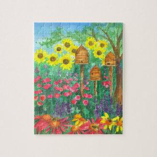 Sunflowers Bee Skep Garden Jigsaw Puzzle
