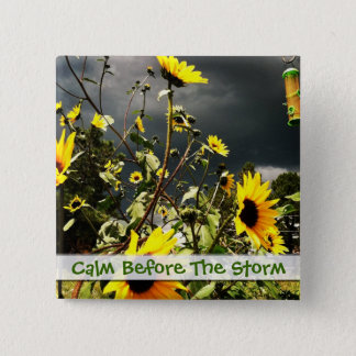 Sunflowers Before The Storm Clouds Photograph 2 Inch Square Button